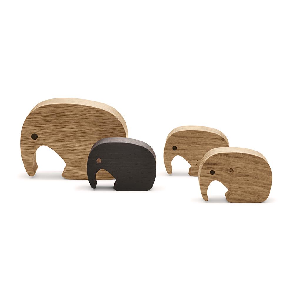 Dubové figurky Elephant, 4 ks