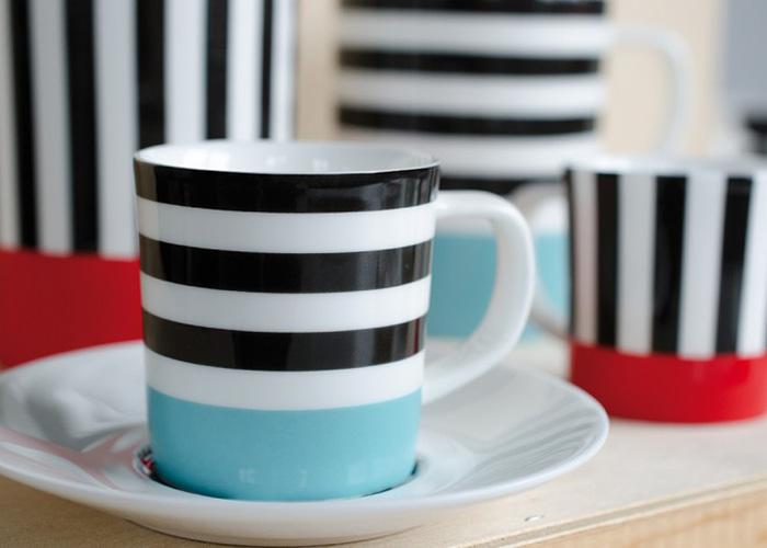 Espresso šálek s podšálkem Black Lines