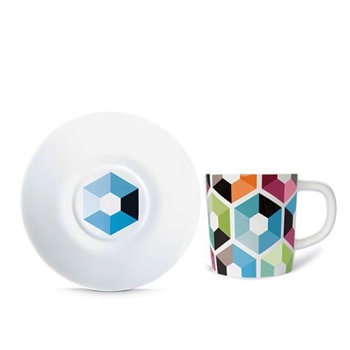 Espresso šálek s podšálkem Hexagon