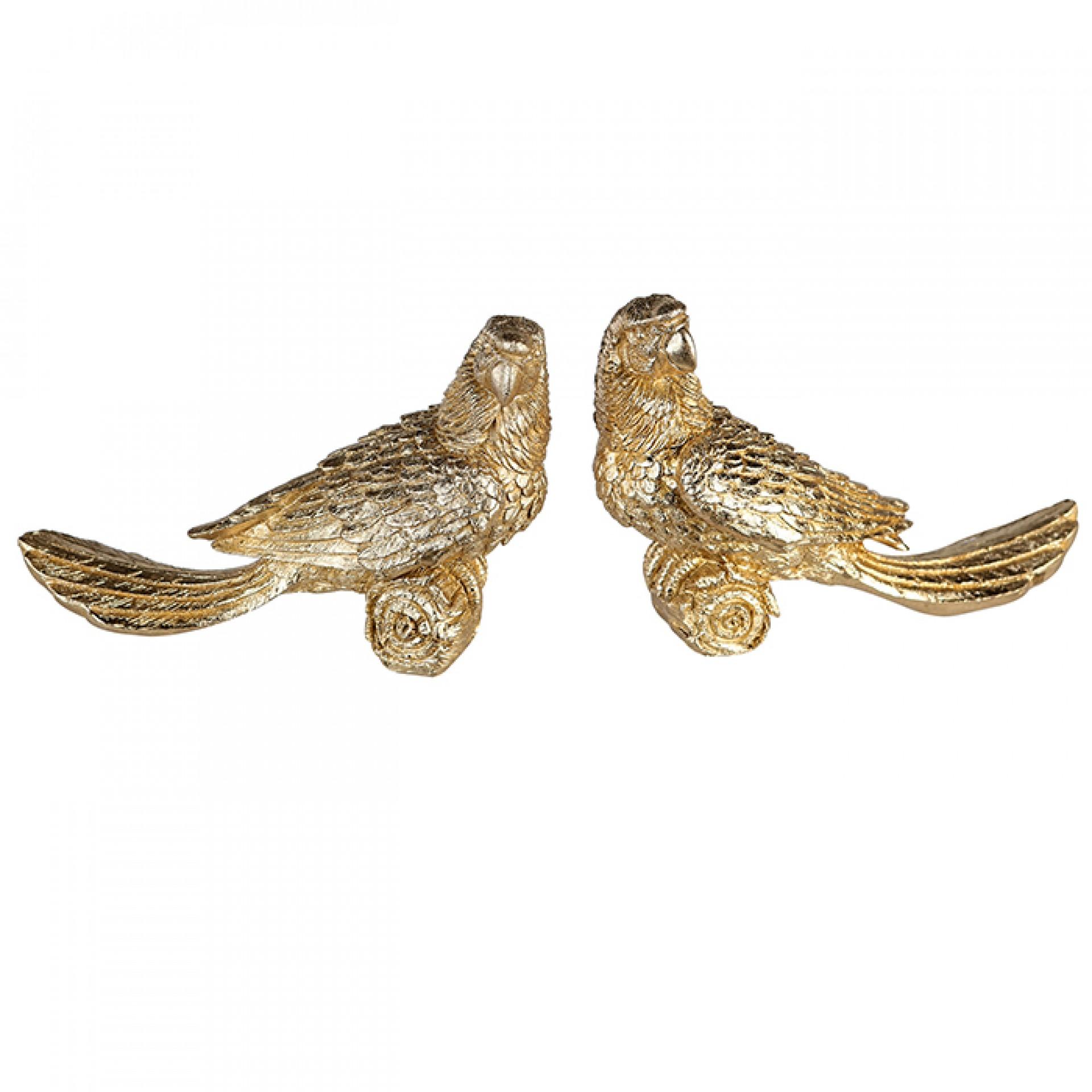 Figurka Papoušek, 25 cm, sada 2 ks, zlatá