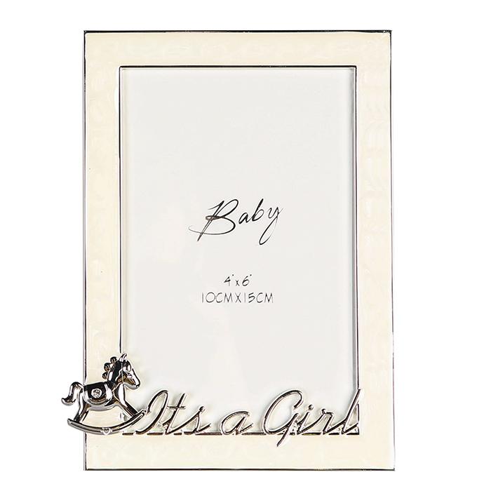 Fotorámeček BabyGirl, 17 cm, stříbrná