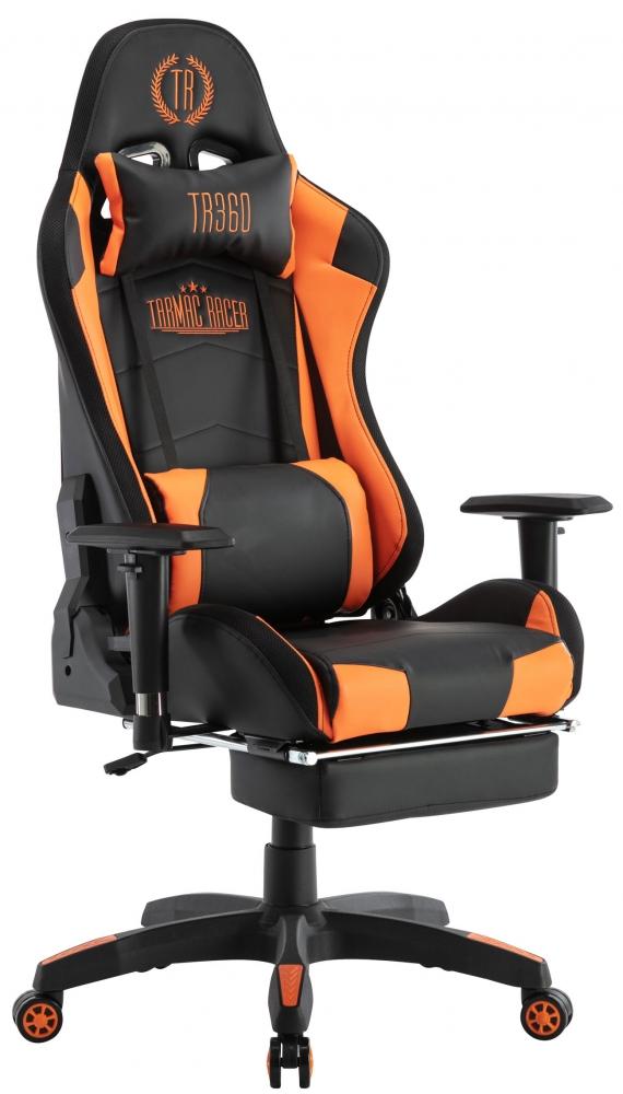 Herní křeslo Turbo LED, syntetická kůže, černá / oranžová
