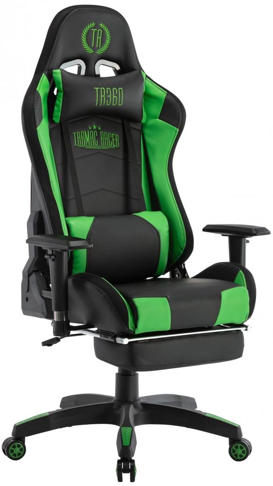 Herní křeslo Turbo LED, syntetická kůže, černá / zelená