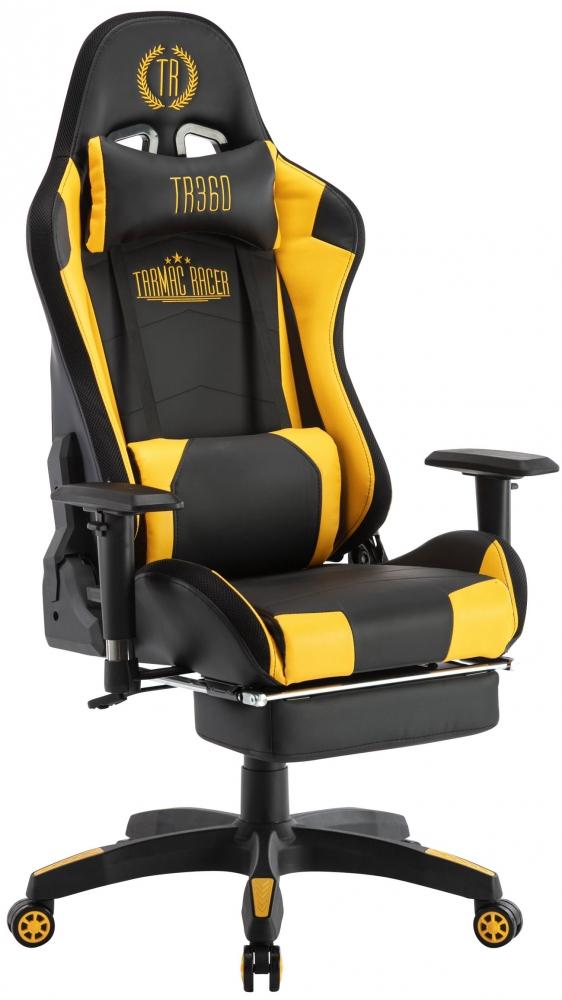 Herní křeslo Turbo LED, syntetická kůže, černá / žlutá