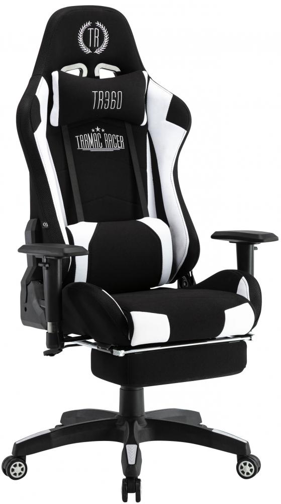 Herní křeslo Turbo LED, textil, černá / bílá