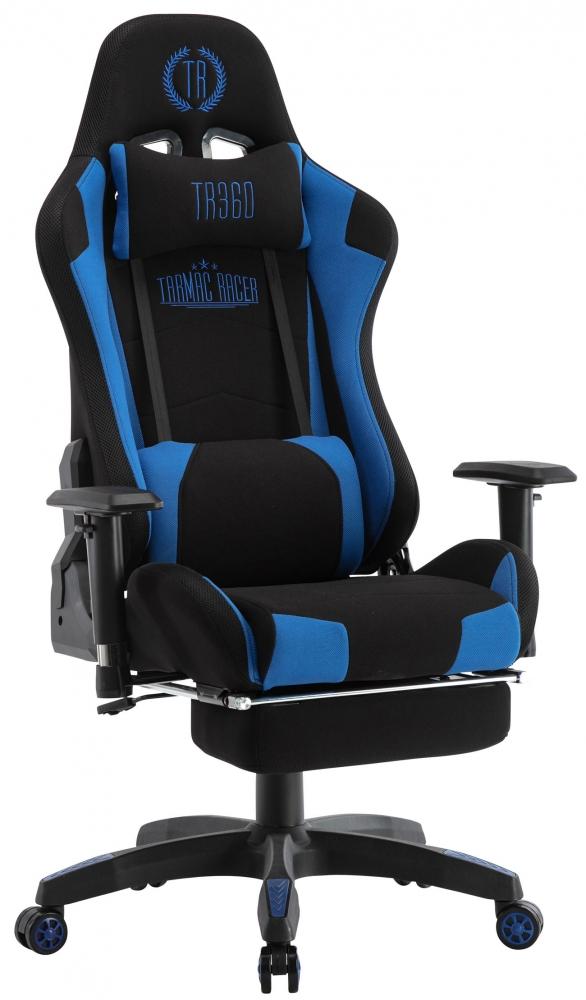 Herní křeslo Turbo LED, textil, černá / modrá