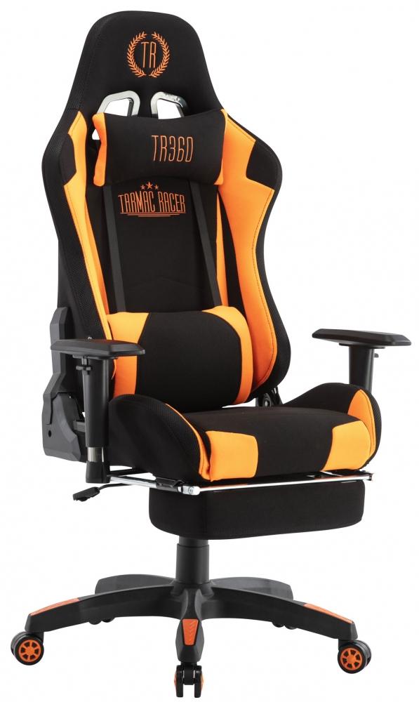 Herní křeslo Turbo LED, textil, černá / oranžová