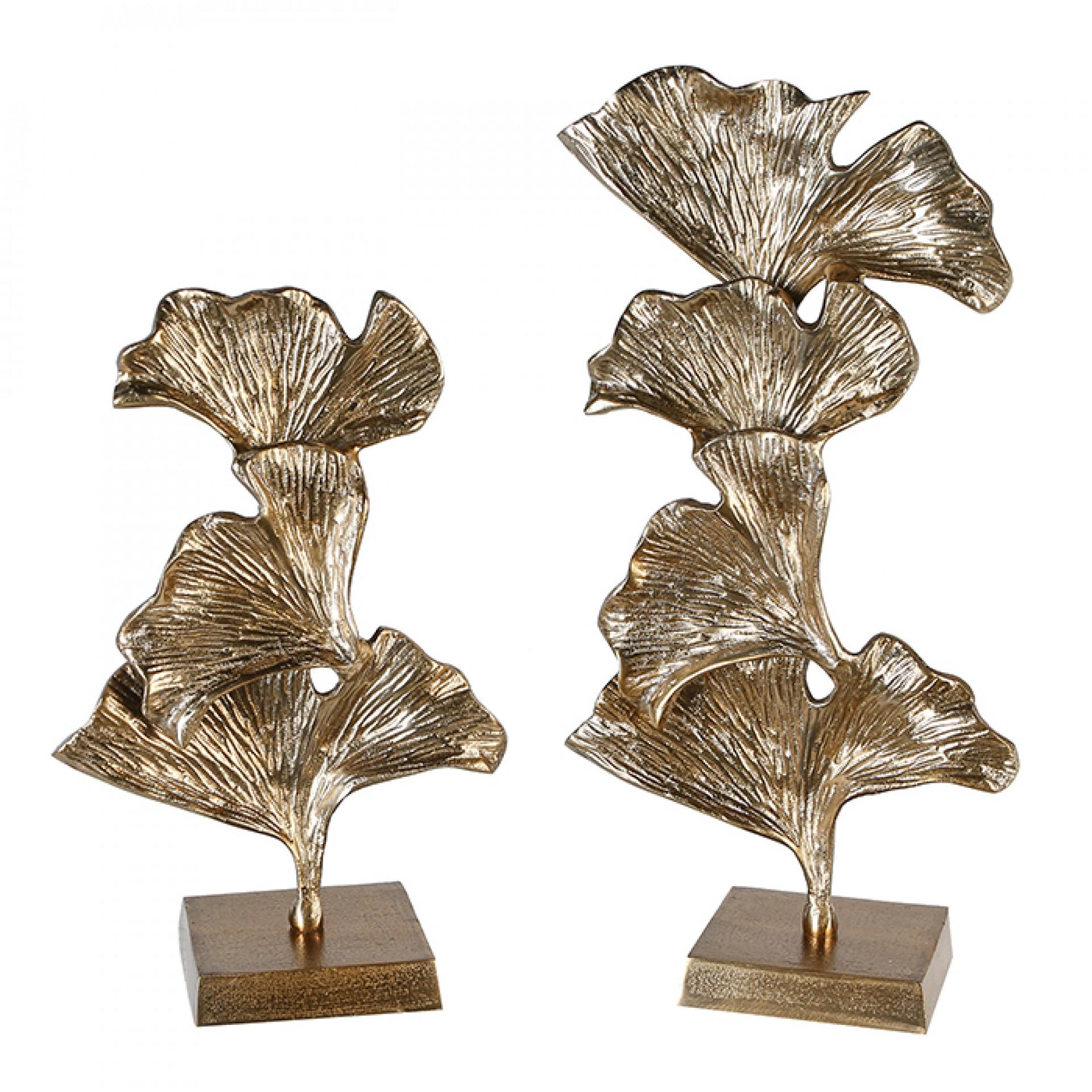 Hliníková dekorace Ginkgo, 38 cm, zlatá