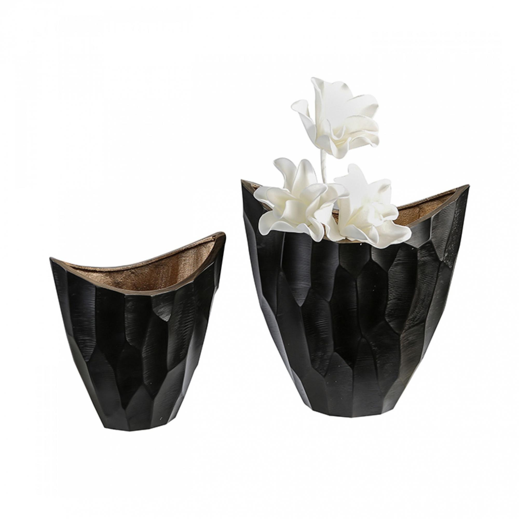 Hliníková váza Lava, 26 cm, černá/zlatá