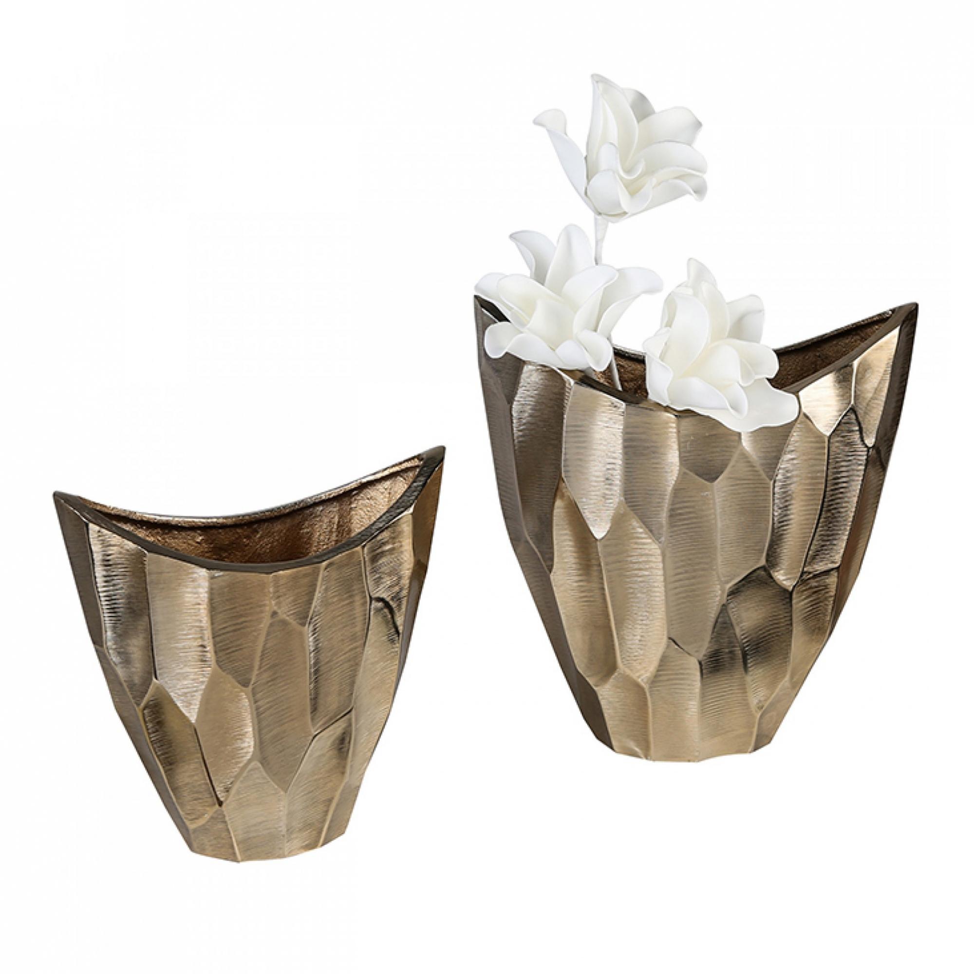 Hliníková váza Lava, 26 cm, zlatá