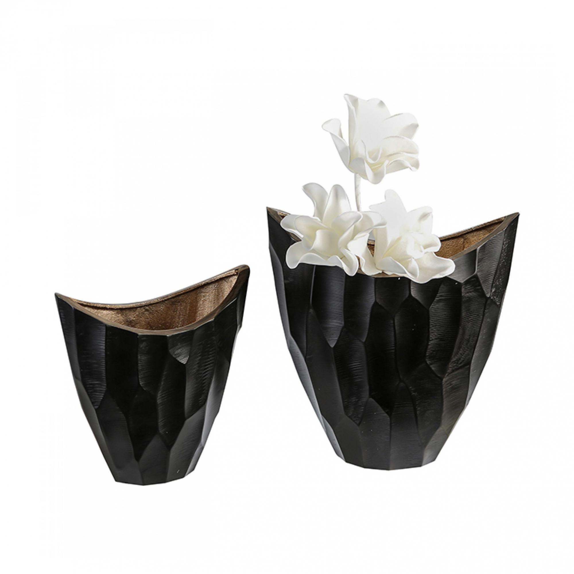Hliníková váza Lava, 33,5 cm, černá/zlatá