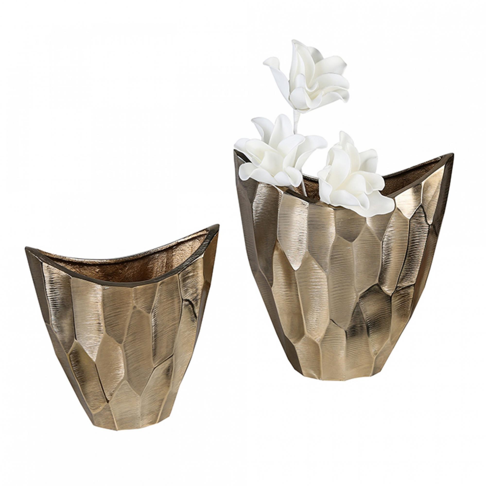 Hliníková váza Lava, 33,5 cm, zlatá
