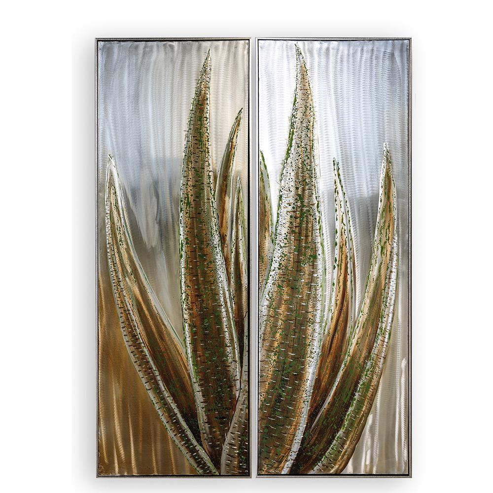 Hliníkový obraz Agave 150 cm, sada 2 ks