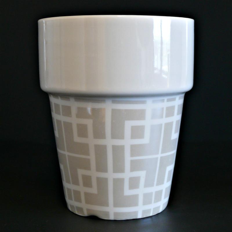 Hrnek porcelánový stohovatelný, čtverce