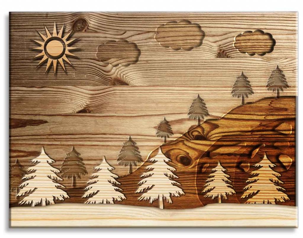 Imitace dřevěného obrazu Les, 120x90 cm