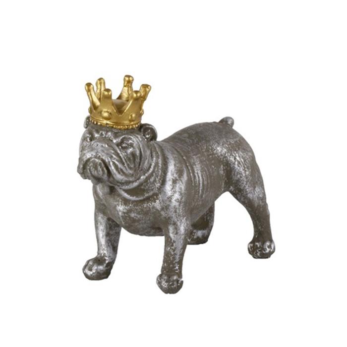 Interiérová dekorace Crown Dog standing, 15,5 cm, beton