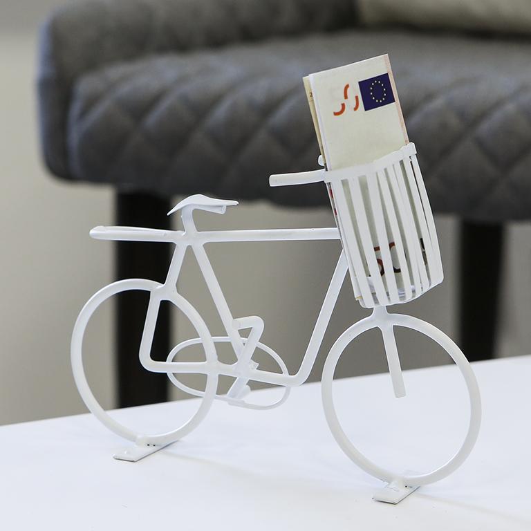 Interiérová dekorace Cykl, 18 cm, bílá