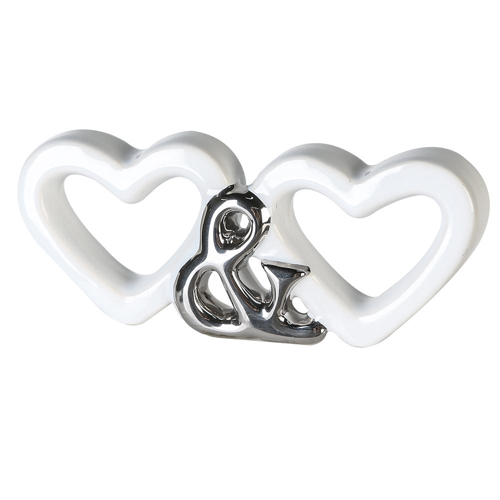 Interiérová dekorace Heart Double, 15 cm
