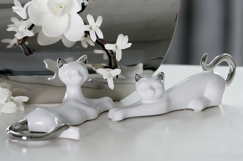 Interiérová dekorace kočky Milly, sada 2 ks, 21 cm