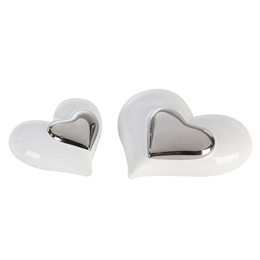 Interiérová dekorace srdce Amore, 9,5 cm, bílá/stříbrná