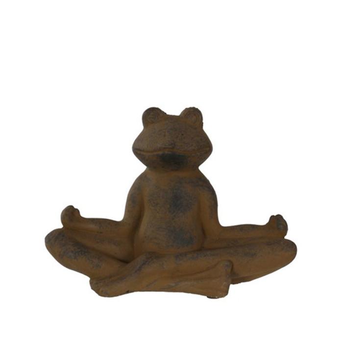 Interiérová dekorace Yoga Frog, 23,5 cm, hnědý beton
