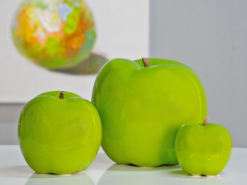 Interiérová dekorácia Jablko, 12 cm, biela