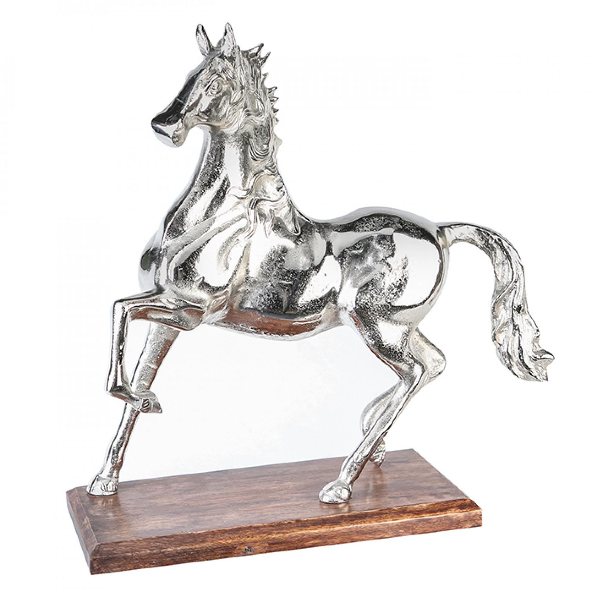 Interiérová hliníková dekorace Kůň, 41 cm