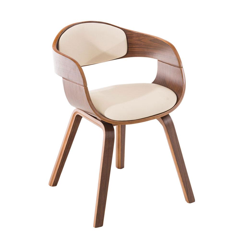Jedálenská / rokovacia stolička Kindom orech (SET 2 ks), krémová, krémová