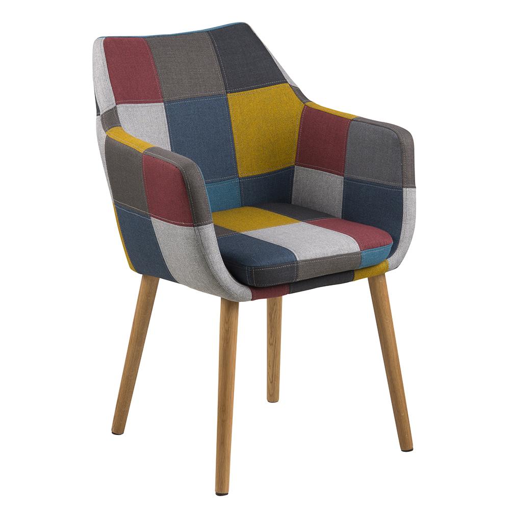 Jedálenská / rokovacia stolička s opierkami Marte, patchwork, viac farieb