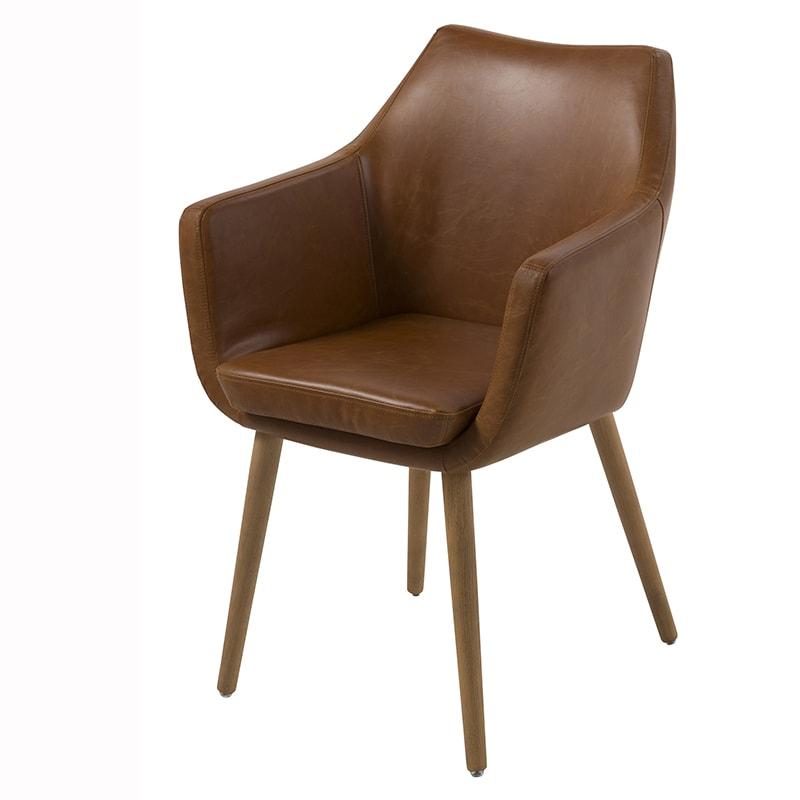 Jedálenská / rokovacia stolička s podrúčkami Marte, hnedá