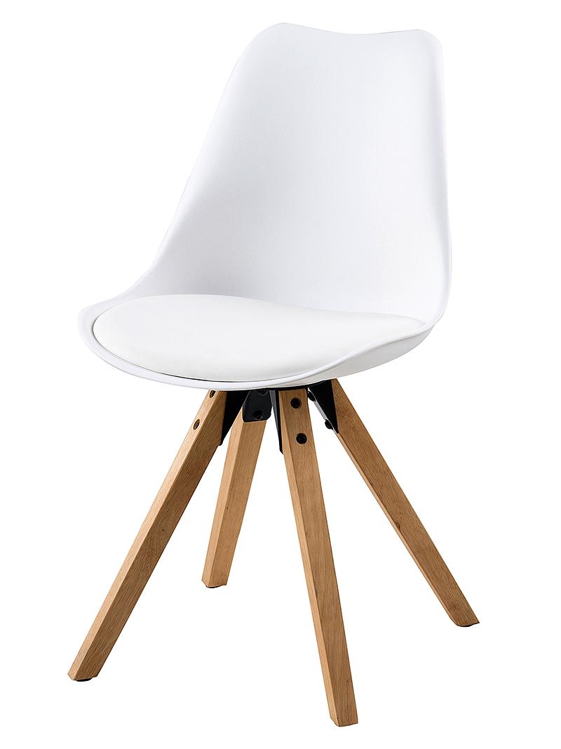 Jedálenská stolička Damian (SET 2 ks), drevo/biela, drevo / biela