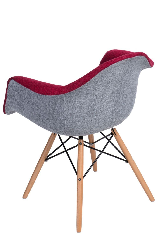 616f768b787be ... Jedálenská stolička s drevenou podnožou Blom čalúnená, sivá/červená - 2  ...