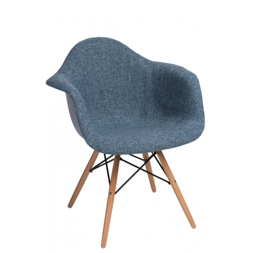 de8bee18b91be Jedálenská stolička s drevenou podnožou Blom čalúnená, sivá/modrá - 1
