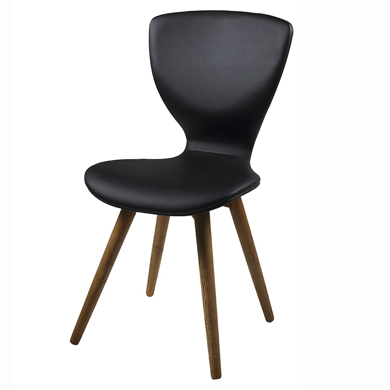Jedálenská stolička s drevenými nohami Greta (SET 2 ks), čierna