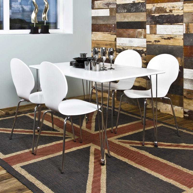 Jedálenský Stôl Ebony biely 120 cm, biela