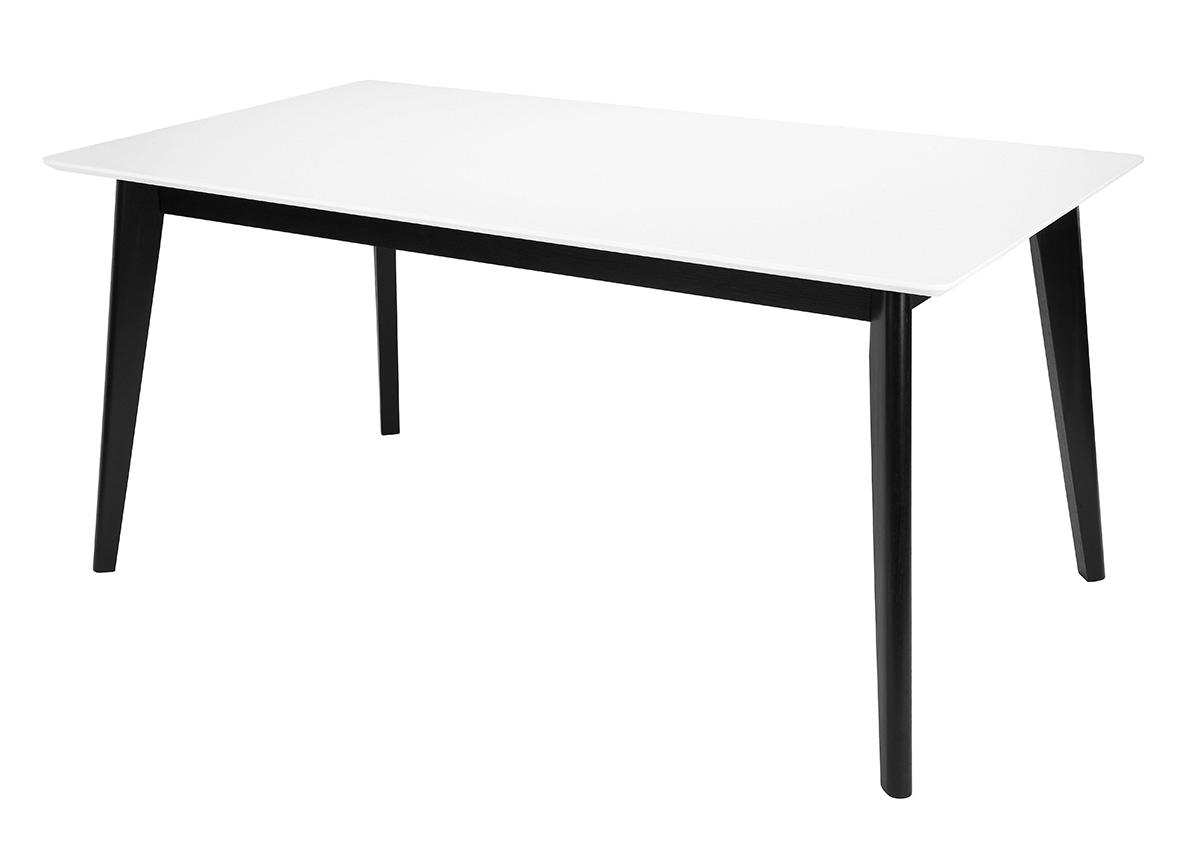 Jedálenský stôl Milenium, 160 cm, biela/čierna, biela / čierna