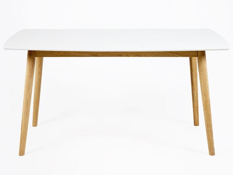 Jedálenský stôl Nagy, 150 cm, biela / dub, biela / dub