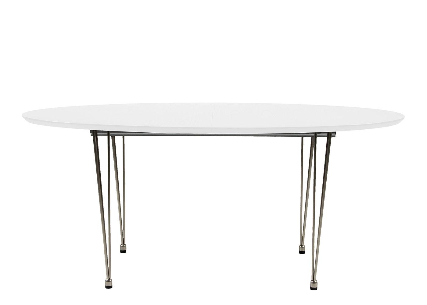 Jedálenský stôl rozkladací Ballet, 270 cm, nohy chróm, biela / chróm