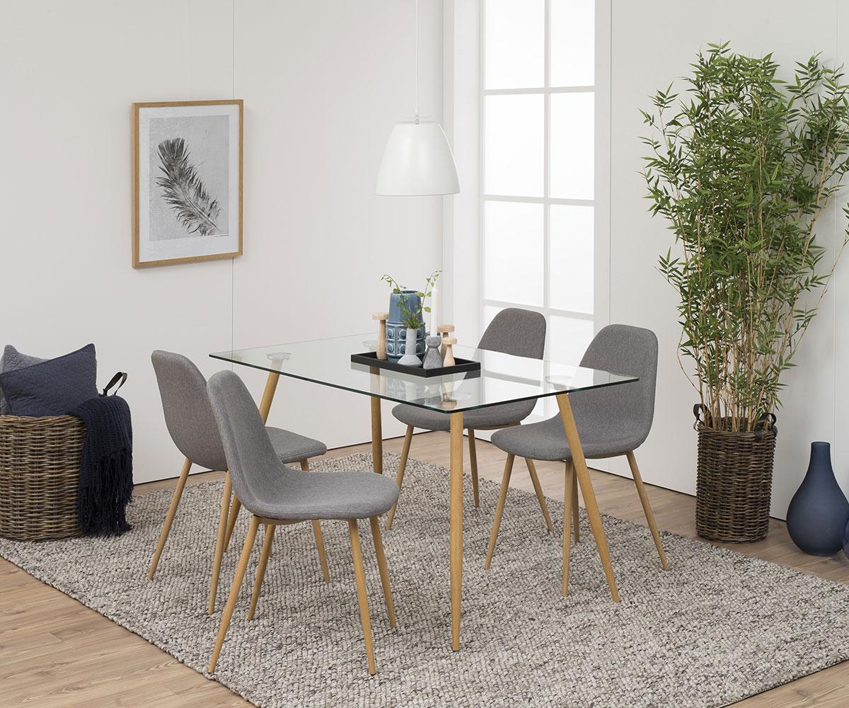 Jedálenský stôl sklenený Wanda, 140 cm, číra / dub