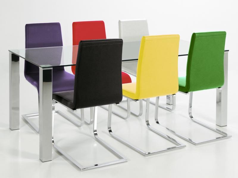 Stôl so sklenenou doskou Canton 90 cm, číre sklo, sklo / chróm