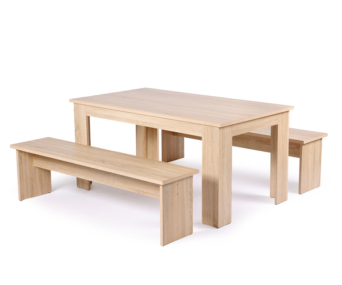 Jedálenský stôl + 2 lavice Baden, 140 cm (3 ks), dub, dub