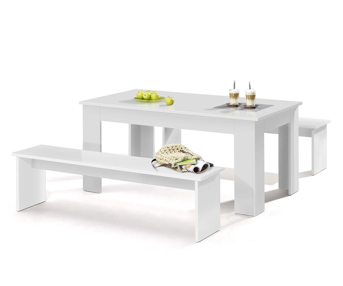 Jedálenský stôl + 2 lavice Baden, 160 cm (3 ks), biela, biela