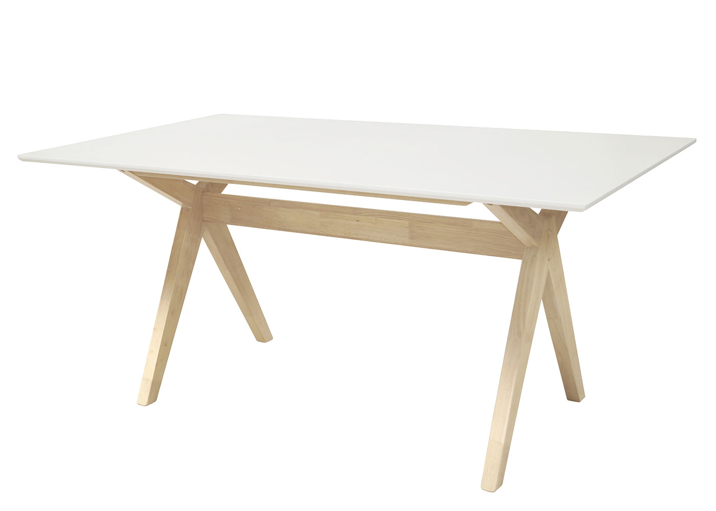 Jedálenský stôl Crossed, 160 cm, drevo / biela