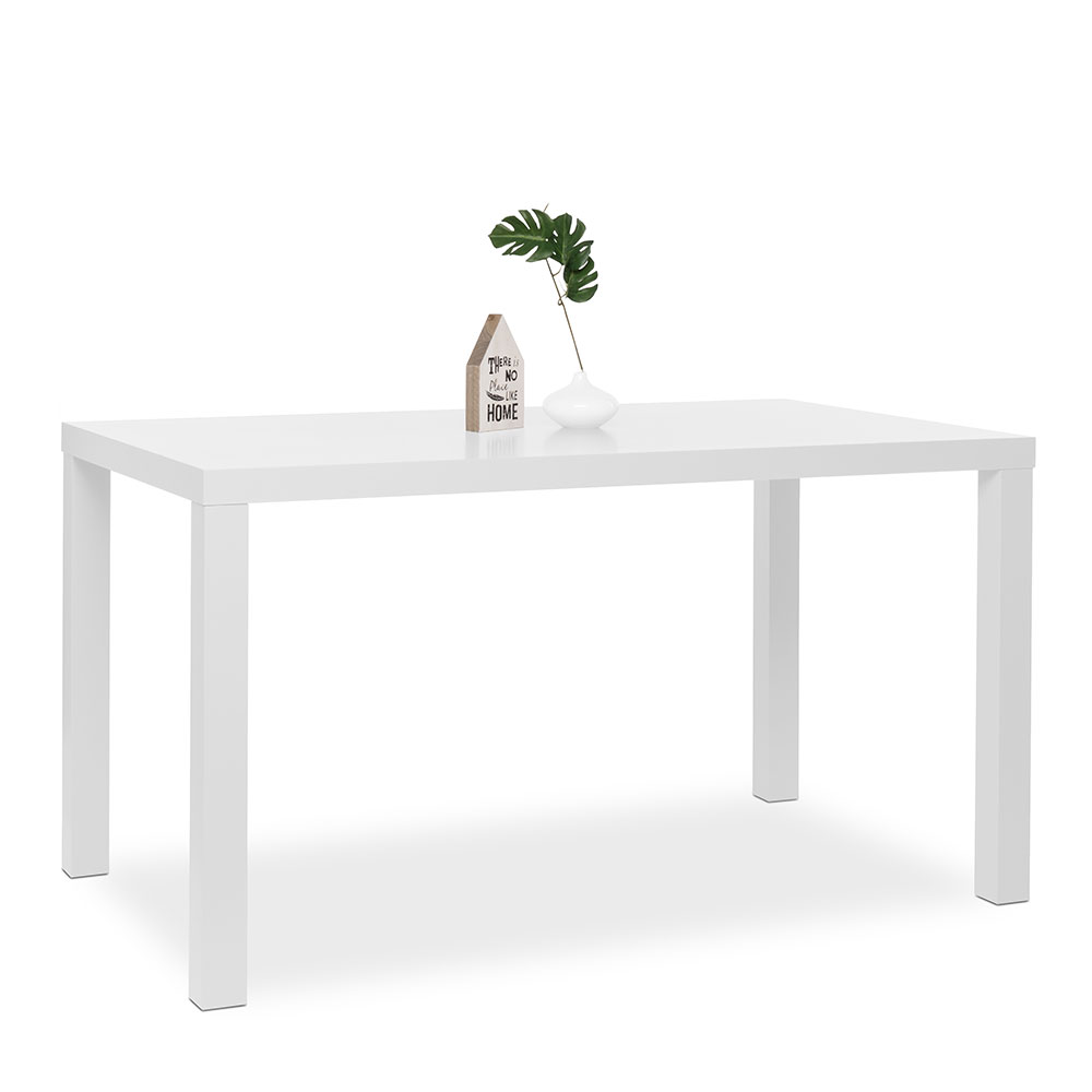 Jedálenský stôl Priscilla, 140 cm, biela mat, biela