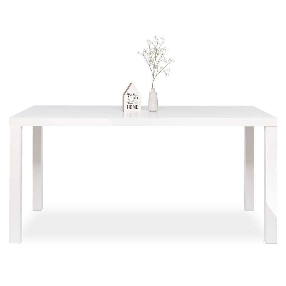 Jedálenský stôl Priscilla, 160 cm, biela lesk, biela