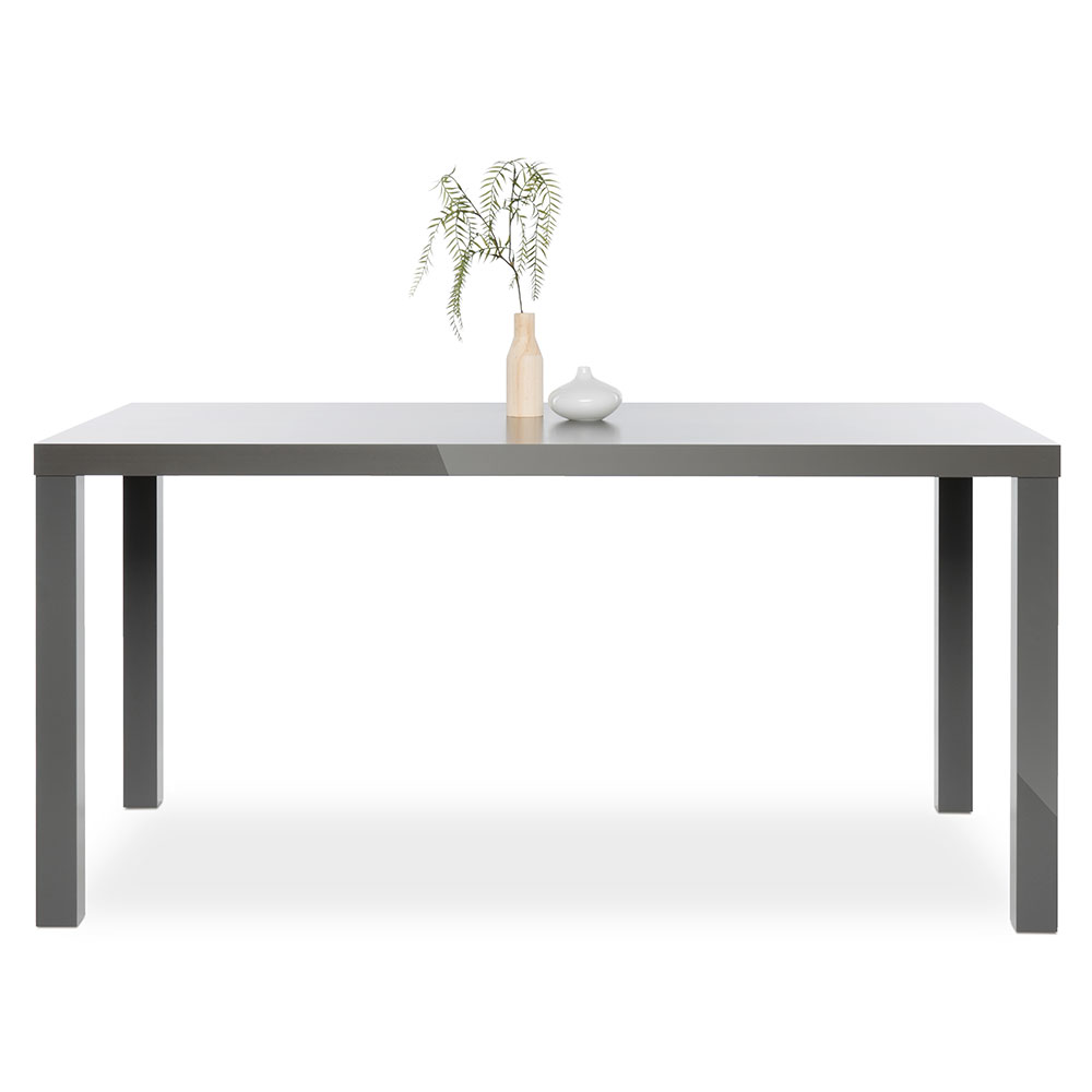 Jedálenský stôl Priscilla, 160 cm, sivá lesk, šedá