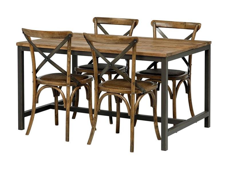 Jedálenský stôl s drevenou doskou Harvest, 180 cm, jilm