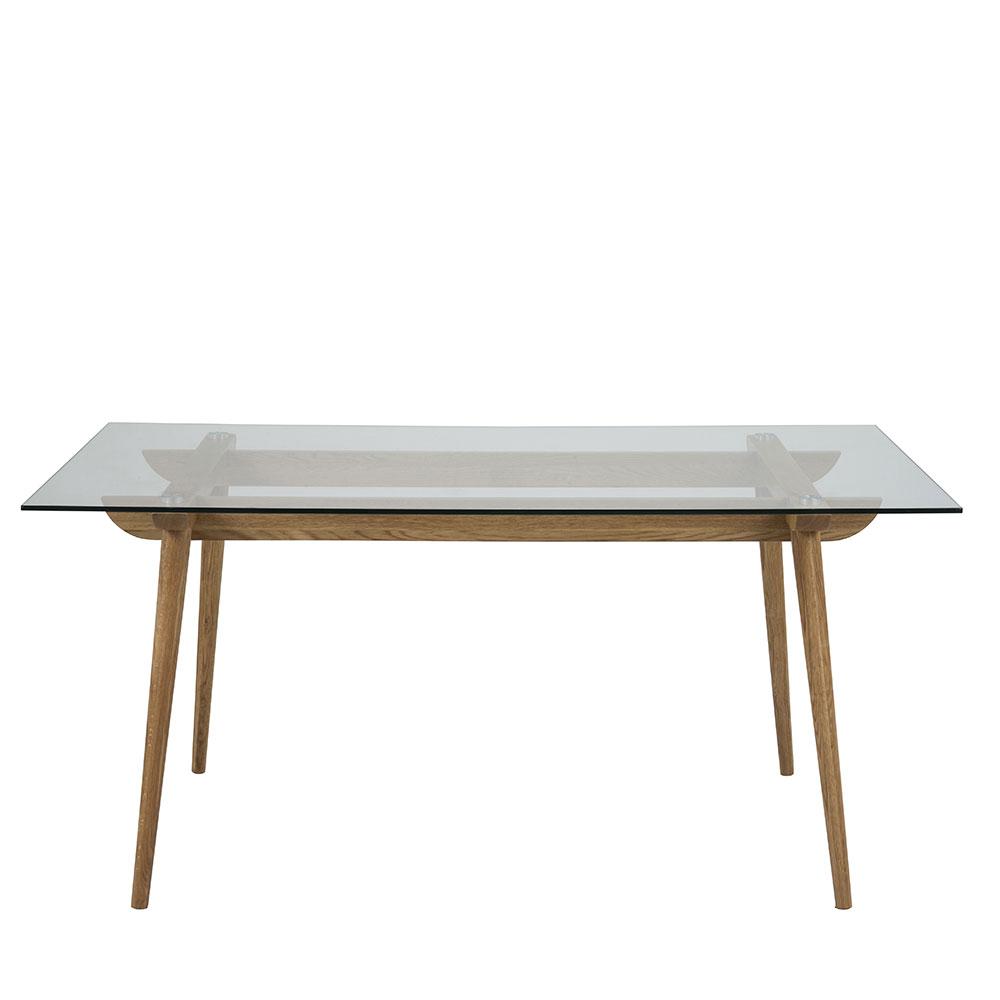 Jedálenský stôl sklenený Xena, 160 cm, číra / dub