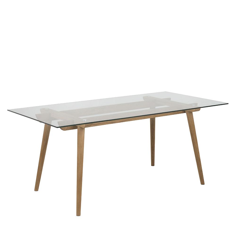 Jedálenský stôl sklenený Xena, 180 cm, číra / dub