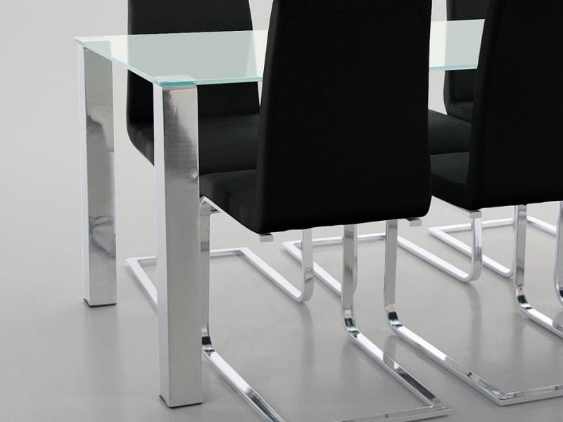 Stôl so sklenenou doskou Canton 90 cm, pieskované sklo, sklo / chróm